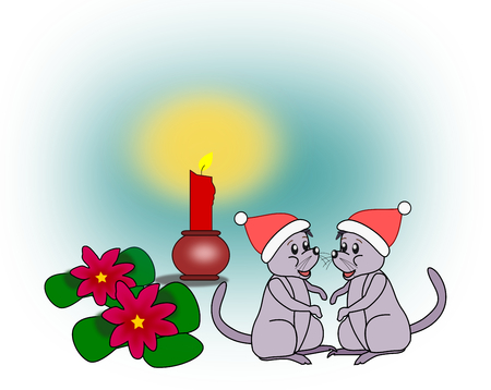 candleholder: Two little mice, some flowers, and a Christmas light.