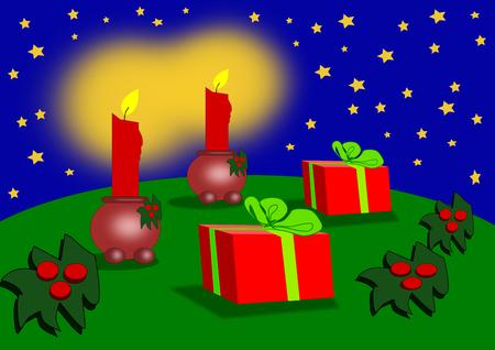 candle light: Two parcels, two candle light, and a starry background. Stock Photo