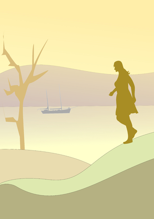 far and away: A woman walking by the sea and a bare tree and a sailboat far away.