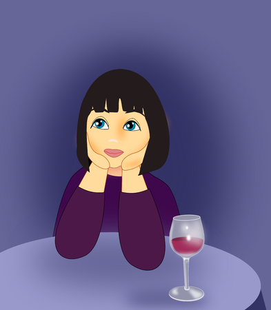 serious: A girl sitting at a table with a wine glass.
