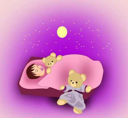 child sleeping: A little child sleeping with a teddy bear, and there are a moon and stars over the bed