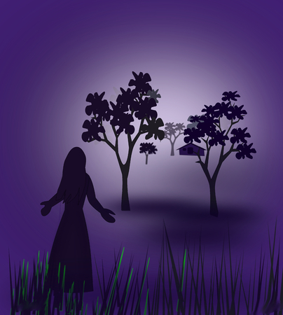 far and away: A woman standing alone in the darkness, looking at a house far away between the trees. Stock Photo