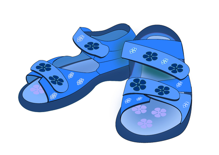 infancy: Illustration of a pair blue sandals for kids over a white background. Stock Photo