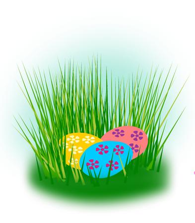 are hidden: Easter eggs hidden in the grass.