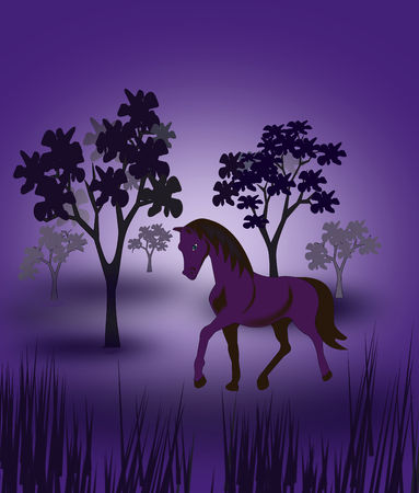 moonshine: It is night, and the horse is out alone in the forest. Stock Photo