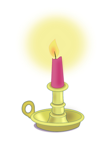 candlestick: Illustration of a red candle in a brass candlestick.