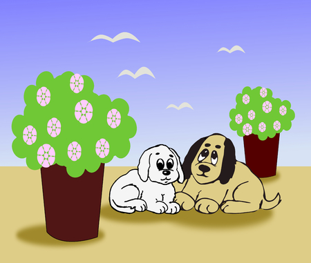 flower pots: Two little dogs sitting together between two big flower pots. Stock Photo