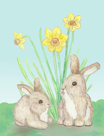 nestled: Two little bunnies nestled together by some tall daffodils.