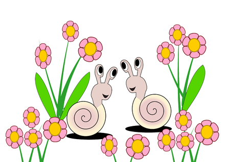 sweethearts: Two snails smiling to each other, between lots of pink flowers.