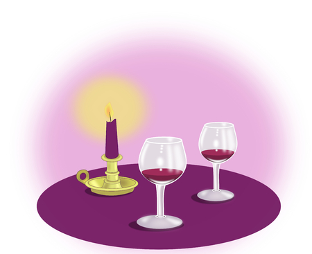 intoxicating: Two wine glasses and a candle on a violet background.
