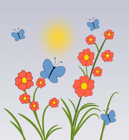 fluttering: Some red flowers, and blue butterflies fluttering around. Stock Photo