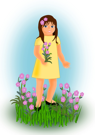 yellow dress: A girl in a yellow dress standing in a flower meadow.
