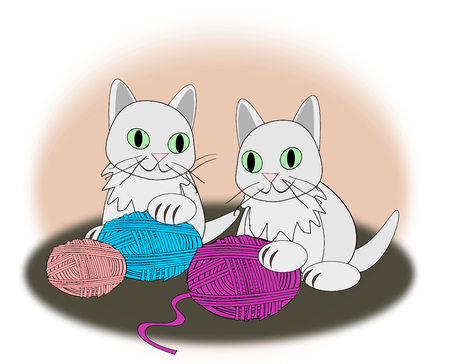 kittens: Two kittens playing with colorful balls of yarn.
