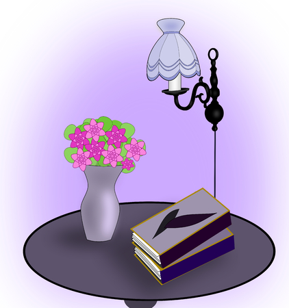 A round table with some books, a lamp, and a vase of flowers. Stock Photo