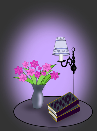 round table: A round table with some books, a lamp, and a vase of flowers. Stock Photo
