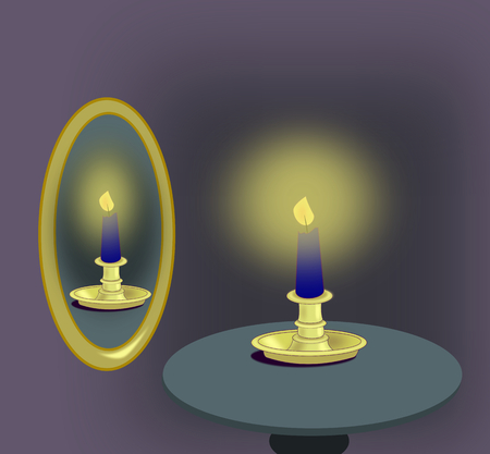 candleholder: A blue candle standing on a table next to a mirror. Stock Photo