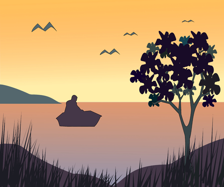 lake sunset: Sunset over the ocean where there is a small boat with a man sitting in it.
