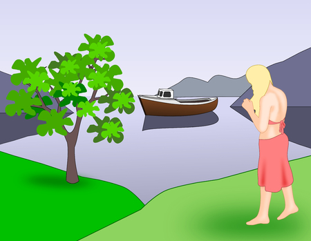 A girl who is standing by the sea, where there is a boat.