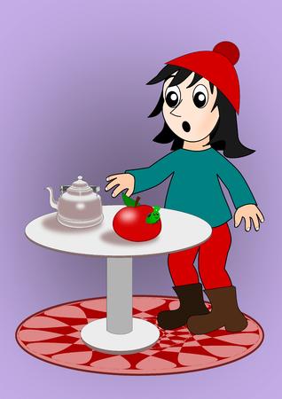 eaten: A puzzled girl watching a worm eaten apple.