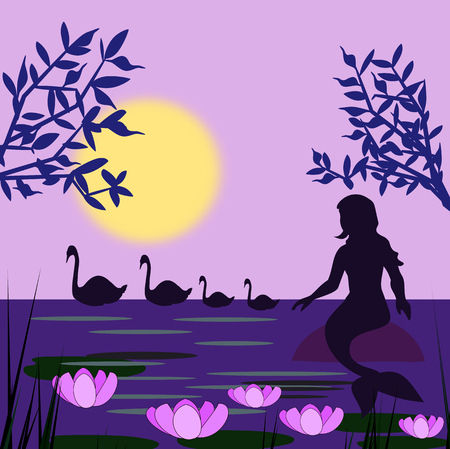 A mermaid sitting on a rock, and looking at a swan family, at night.