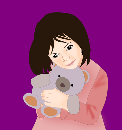 alone in the dark: A little girl holding a gray teddy bear. Stock Photo