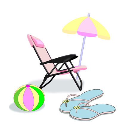 A pink folding chair, a parasol, a pair of flip flop sandals, and a beach ball. Stock Photo