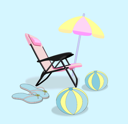 A pink folding chair, a parasol, a pair of flip flop sandals, and two beach balls. Stock Photo