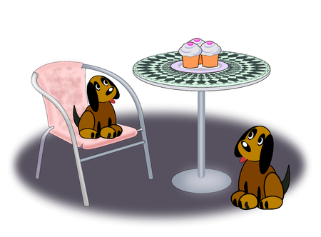 Two dogs sitting and looking at three cupcakes standing on a round table. Stock Photo