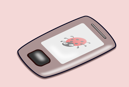 A cellphone with a picture of a ladybug. Stock Photo