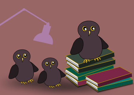 humorous: Three owls and some stacks of books, and a lamp in the background. Stock Photo