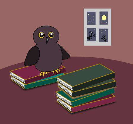 humorous: An owl and some stacks of books, and a window in the background.