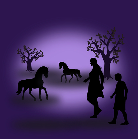 Two horses and a woman and a boy in the twilight.