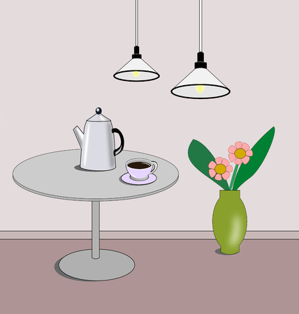 A room with two lamps, a vase of flowers, and a table with a cup and a coffee pot.
