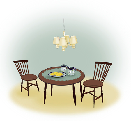 Old-fashioned interior with two chairs a table and a lamp hanging over the table.