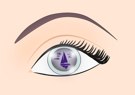 An eye where one can see the mirror image of a seascape with a sailboat and some island with palm trees.
