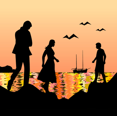 People who meet by the sea at sunset.