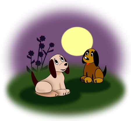 Two little puppies sitting together in the moonlight, one is gray, and the other is brown. Stock Photo - 134842336