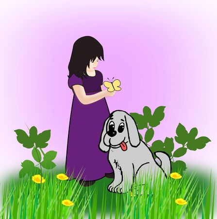 A girl in a purple dress holding a yellow butterfly on her hand, and a big gray dog.