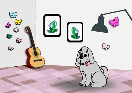 A gray dog sitting in a cozy room with pictures on the wall and decoration of butterflies.