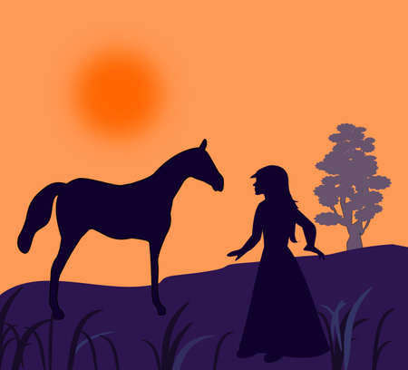 A girl standing with a horse in the sunset.