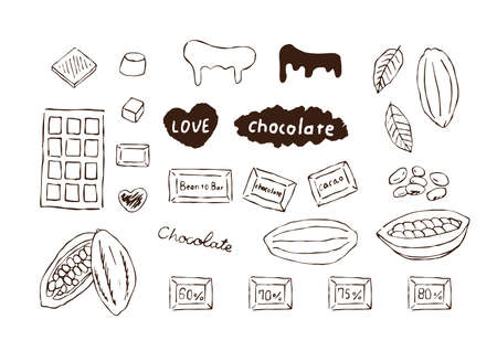 Simple line drawing illustration of cocoa beans and chocolate