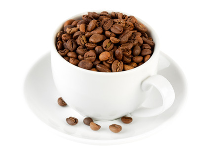 pervaded: Сoffeeсup pervaded grain coffee isolated on white backgound Stock Photo