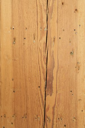 Close-up full frame wood textured background with crack and nail holes