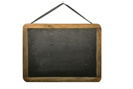 Old chalkboard hanging from nail isolated on white background. Stock Photo