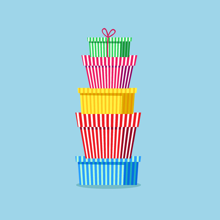 gratitude: Striped gift boxes, gift wrap, presents, gifts stacked up. Vector illustration. Element for New Year, Christmas and Birthdays design, postcards. Illustration