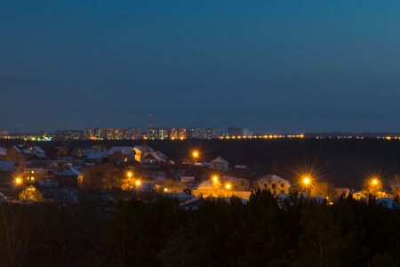 Panorama of village and city at night with lights nature