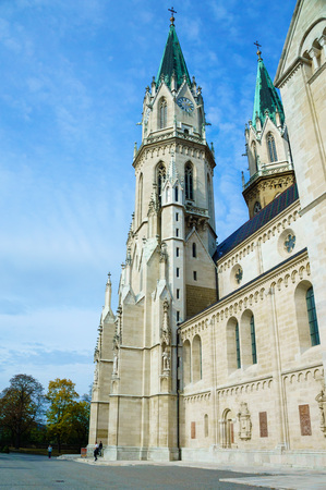 Old catholic church with high roofs with clear sky in Vienna Europe