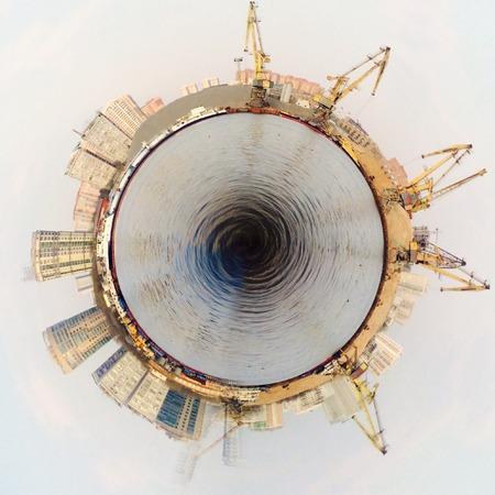 tiny: Tiny town with cranes Illustration