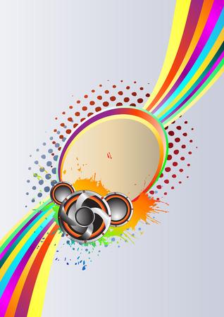 Abstract rainbow music Background. Clip-art Vector