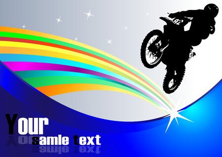 dirt bike: motocross background. Clip-art Illustration